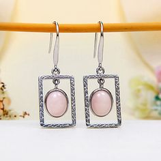 JeGem Sterling Silver Pink Peruvian opal Hook Earrings Jewelry $109.49