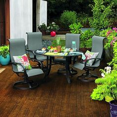 hampton bay statesville 5 piece padded sling patio dining set with