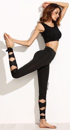Black Wide Waistband Tie Up Leggings