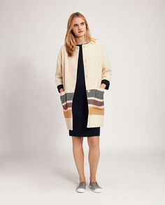 Women's Multi Coloured Cream Cotton Miyoko Coat | Toast