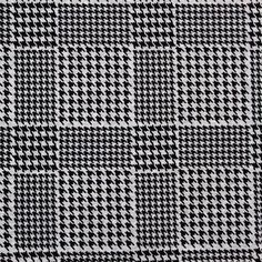 Black Houndstooth Plaid on Gray Cotton French Terry Knit