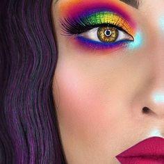 Cute Makeup, Beauty Makeup, Colorful Eye Makeup, Rainbow Makeup, Colourful Hair, Fall Makeup Looks, Makeup For Blondes, Eyeshadow Makeup, Eyeshadow Ideas