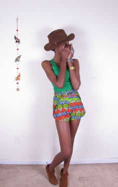 Bold Bright African Wax Print Wrap Shorts. $45.00, via Etsy.