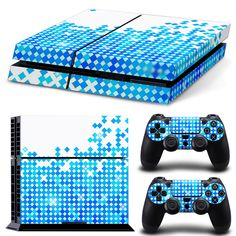 >> Click to Buy << custom blue and white design sticker for PS4 console and 2PCS controllers skin decals #TN-P4-0241 #Affiliate