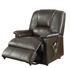 ACME 10652 Reseda Recliner with Lifted and Massage Function, Brown PU by ACME. Save 18 Off!. $522.50. Power lift function. Side pocket. 8-Motor massage feature. The Reseda Power Lift Chair is provided not only with the power lift function but also 8 motor massage feature. Two convenient and easy to use remotes are stored at a hand length in the side pocket. This lift recliner is available in either black or brown easy to maintain bycast upholstery. Surround yourself with comfort a...