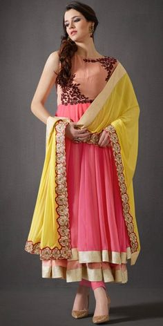 Classy Pink And Yellow Georgette Anarkali Suit With Chiffon Dupatta.