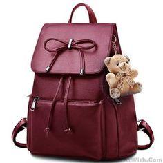 Elegant Bear Doll PU Flap Draw String Large Capacity Bow College Backpacks