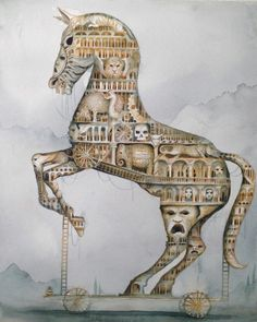 BIG Original Watercolour Painting Dominic Murphy Trojan Horse -One of my very FAVORITE artists!