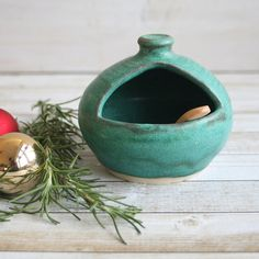 Salt Pig Ceramic Salt Cellar in Copper Green by AndoverPottery