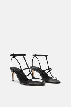 4558fad2ad8 ZARA - WOMAN - LEATHER HIGH HEELED STRAPPY SANDALS Strappy Sandals Outfit