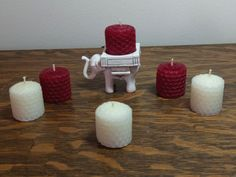 Lucky Elephant Candle Holder w/ 3 Red and 3 White 100% Natural Beeswax Votives #CinnaBee