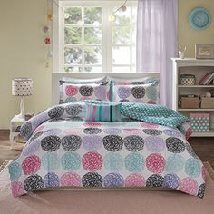 Mi Zone Carly Comforter Set Full/Queen Size - Teal, Purple , Doodled Circles Polka Dots – 4 Piece Bed Sets – Ultra Soft Microfiber Teen Bedding For Girls Bedroom Best Quilted Comforter, Set USA Purple Bedding, Twin Xl Bedding, Teen Bedding, Queen Comforter Sets, Bedding Sets, Duvet Bedding, Urban Outfitters, Shabby, Teen Girl Bedrooms