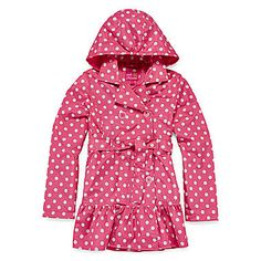 jcp | Pink Platinum Dot Print Hooded Trench Coat - Girls 7-16