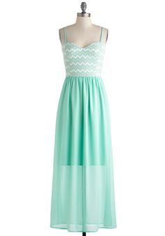 Honors, Minutes, Seconds Dress - Mint, White, Chevron, Maxi, Spaghetti Straps, Sweetheart, Wedding, Daytime Party, Beach/Resort, Pastel, Long