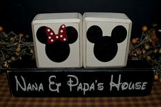 Mickey and Minnie Mouse Nana & Papa's House distressed rustic gift wood blocks sign by PrimitiveHodgePodge