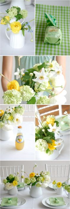 green and yellow centerpieces by angelia