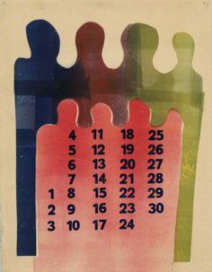 Calendar by H.N. Werkman Printable Labels, Printables, Illustration Art, Illustrations, Dutch Painters, All Art, Wall Murals, Journaling, Calendar