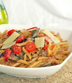 Penne with Mushroom Cream Sauce (mostly meatless, calls for a little bacon crumbles)