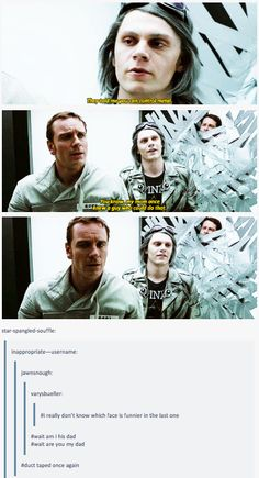 Oh the references! Magneto and Quicksilver.........and the guy that's duct taped. Also, I love how they had Quicksilver holding the little girl who one could only expect to be Scarlet Witch....Love It! << My dear girl.....you clearly don't know X-men that well....Wanda and Pietro are twins. That was Polaris.