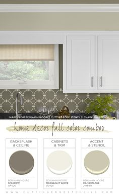 This Chain Link stenciled kitchen uses a stunning Fall color combination. See more Fall color combos! http://www.cuttingedgestencils.com/link-stencil-pattern.htmlhttp://www.cuttingedgestencils.com/link-stencil-pattern.html
