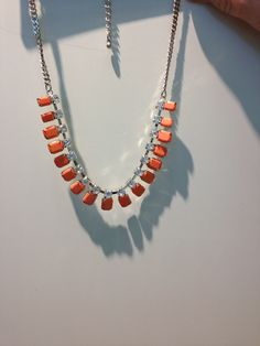 LAST ONE Pink/Peach Stone and Diamanté short Necklace very Pretty - Hypo-allergenic If you would like to buy it please  email us as its not on our website. It's £25 @stealherstyleboutique@yahoo.co.uk