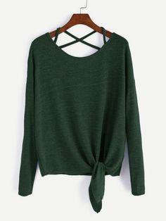 Drop Shoulder Criss Cross Tie Front T-Shirt - 4 Color options - one si