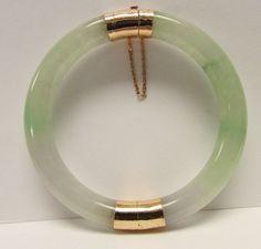 Vintage Estate Translucent 14K Hinged Lavender Apple green Jade Bangle Bracelet by Alohamemorabilia on Etsy