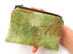 Rare Green Urban Couture Little Zipper Pouch ECO Friendly Padded Coin Purse by JPATPURSES