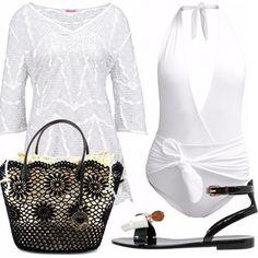 Il bianco, molto elegante anche in spiaggia, per essere attente a ogni dettaglio. Outfit composto da costume intero bianco, con scollatura profonda, copricostume molto carino con ricami, infradito nero/crema con fiocchetto e borsa nera con ricami di fiori.