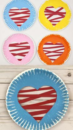 Paper plate heart craft for toddlers, preschoolers, kindergartners and older kids to make for Valentine's Day. Easy Valentine heart craft for kids. crafts for kids for teens to make ideas crafts crafts Preschool Valentine Crafts, Valentines Day Activities, Classroom Crafts, Valentines For Kids, Valentines Ideas For Preschoolers, Valentines Hearts, Homemade Valentines, Valentine Box, Valentine Wreath