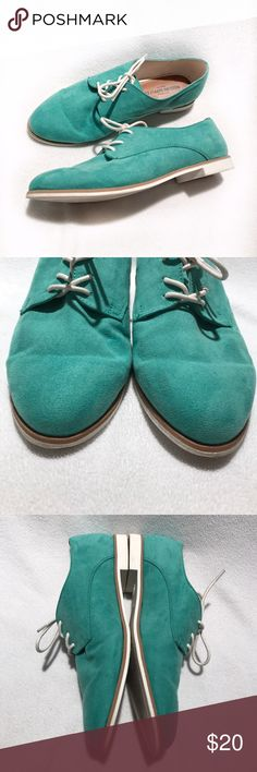 🆕Mossimo Supply Co • Teal Oxford Shoes Used | Excellent Condition | Teal Coloring | White Laces | White Bottom | Faux Suede | Bottoms Show Sign of Wear |🚫 Trades | More 📸 Upon Request | Ask Any Questions Needed To Help With Decision 🙋🏽| Bundles & Offers Are Welcomed ❤️| Mossimo Supply Co Shoes Flats & Loafers