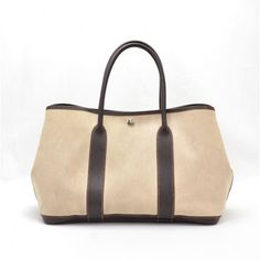"""""""THE CANVAS TOTE"""" Hermes Brown Leather Beige Canvas Tote Bag"""