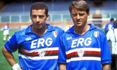 Gianluca Vialli (UC Sampdoria, 1984–1992, 223 apps, 85 goals) and Roberto Mancini.