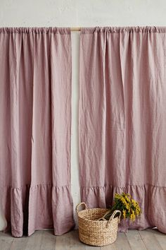 Rod pocket linen curtain panel with flounces. Draped ruffles in washed linen. Ruffle Curtains, Boho Curtains, Ruffle Trim, Sewing Curtains, Ruffles, Window Curtains, Curtain Ties, Rod Pocket Curtains, Curtain Panels