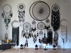 · Huge black moon dream catcher with two black owls black yarn white yarn black beads black feathers It brings love, light and positive energy and allows only your good dreams to slip down the feathers… Dream Catcher Decor, Black Dream Catcher, Dream Catcher Craft, Diy Tumblr, Black Moon, Diy Holz, Black Feathers, Sun Catcher, Decoration Table