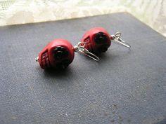Day of the Dead Earrings Red Skulls Sugar Skull by shabbyskull, $7.00