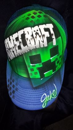Airbrush Minecraft snapback cap hat comes with by 1AirbrushGoddess, $25.00