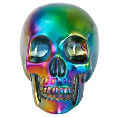 "rockcloud Healing Crystal Stone Human Reiki Skull Figurine Statue Sculptures Rainbow Titanium Coated Aura Quartz 3"""