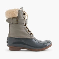 Sperry Top-sider For J.crew Quilted Shearwater Boots Women 9 Green Navy Swag Aromatic Flavor Women's Shoes