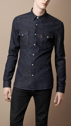 Shop men's casual shirts from Burberry, featuring a range of checks and colours in fine-spun to Oxford-weave cotton. Gothic Fashion Men, Mens Fashion, Fashion Outfits, African Clothing For Men, Mens Clothing Styles, Mode Man, Estilo Denim, Fritz Lang, Denim Shirt Men