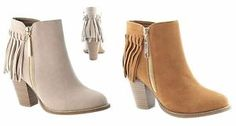 New Womens Suede Almond Toe Fringe Booties Zipper Chunky Heel Ankle Boots
