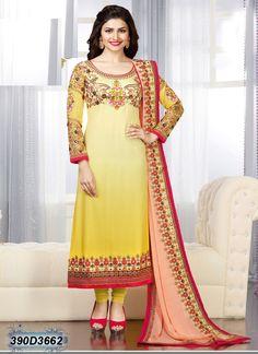 #Prachi #Desai In #Yellow #Straight #Suit #nikvik  #usa #designer #australia #canada #freeshipping