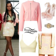 "Little Mix debuted their new music video for ""Black Magic"" today. In the second part of the video Leigh-Anne was wearing the Missguided Emmelie Bralet (Sold Out), an Acne Studios Olympia Knit Bomber Jacket ($244.00), a Monki SS15 Skirt (Not available online), her favourite Rolex Datejust II Oyster Steel and Yellow Gold Watch and a pair ofTopshop Loretta Feather Sandals ($90.00). You can find a similar jacket by Only ($46.80)."
