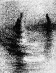 Haunting Figure Drawing Water Wading Gothic Haunting Moody Shadow Dark Fog Fine Art Crayon Wander XXXVIII