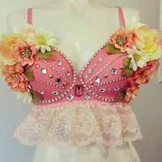 SugarRoxCouture - Bohemian Rave Bra, Floral Peach Bra Custom Event Outfit Crystal Chain, Rhinestones and Lace