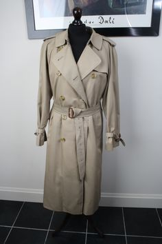 6e1e8c7a4cd Details about Vintage BURBERRY Classic Ladies Long Beige Mac Trench  Raincoat UK Size 14 L