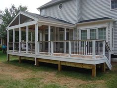screened in porch with open deck area