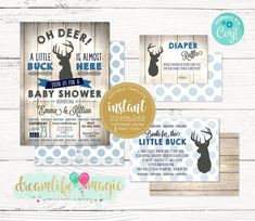 Little Buck Baby Shower Invitation Rustic Baby Shower Set Hunting Baby Showers, Woodsy Baby Showers, Deer Baby Showers, Baby Shower Party Games, Baby Shower Fun, Baby Deer, Oh Deer, Rustic Invitations, Baby Shower Invitations