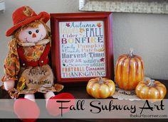 Fall Subway Art - Free Printable