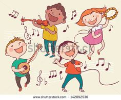 Illustration of Kids Playing Musical instruments . Children illustration for School books and more. Separate Objects. - stock vector